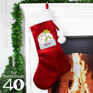 Personalised The Snowman and the Snowdog Luxury Red Stocking