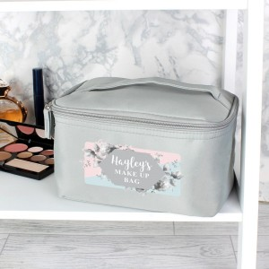 Personalised Floral Grey Make Up Wash Bag