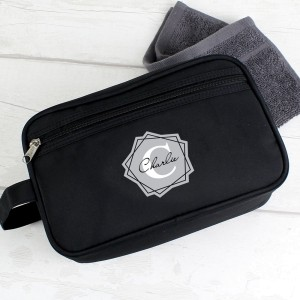Personalised Geometric Initial Black Wash Bag