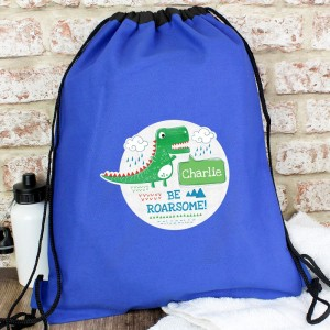 "Personalised ""Be Roarsome"" Dinosaur Swim & Kit Bag"