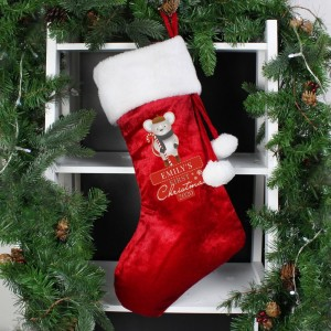 "Personalised ""1st Christmas"" Mouse Red Stocking"
