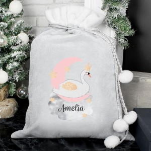 Personalised Swan Lake Luxury Silver Grey Pom Pom Sack