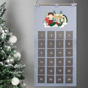 Personalised Grey Elf Advent Calendar