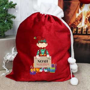 Personalised Christmas Elf Luxury Pom Pom Sack