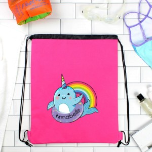 Personalised Narwhal Pink Swim Bag