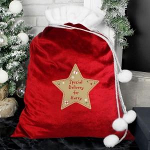 Personalised Free Text Star Luxury Pom Pom Red Sack