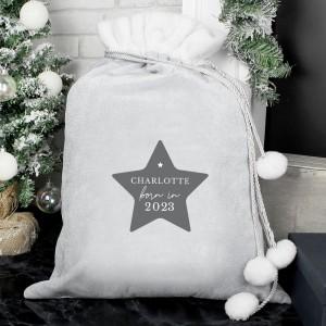 Personalised Born In Luxury Silver Grey Pom Pom Sack