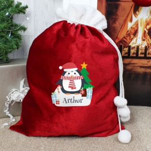 Personalised Christmas Penguin Luxury Pom Pom Red Sack