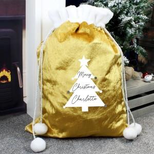 Personalised Christmas Tree Luxury Pom Pom Gold Sack