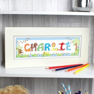 Personalised Blue Animal Alphabet Frame