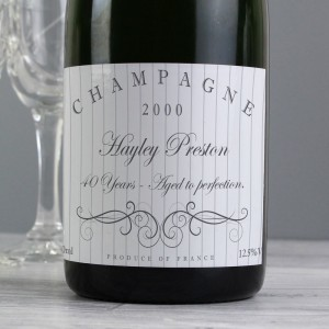 Personalised Elegant Swirl Champagne Bottle
