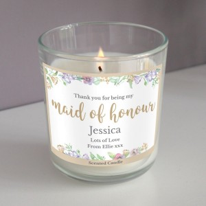"Personalised Maid of Honour ""Floral Watercolour Wedding"" Scented Jar Candle"