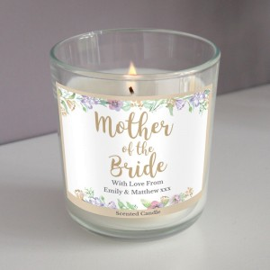 "Personalised Mother of the Bride ""Floral Watercolour Wedding"" Scented Jar Candle"