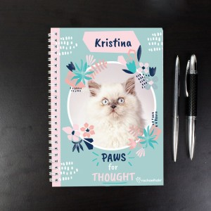 "Personalised Rachael Hale ""Paws for Thought"" Cat A5 Notebook"