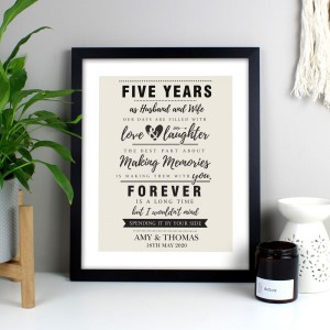 Personalised Anniversary Black Framed Poster Print