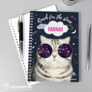 Personalised Rachael Hale Space Cat A5 Notebook
