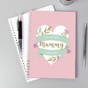 Personalised Floral Heart A5 Notebook