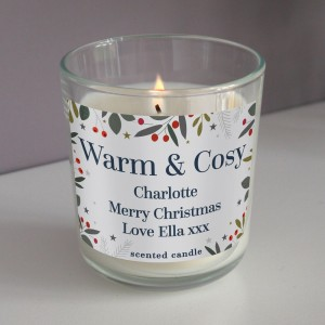 Personalised Festive Christmas Scented Jar Candle