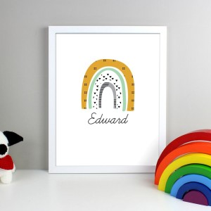 Personalised Mustard & Green Rainbow White Framed Print