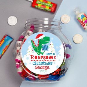 "Personalised Dinosaur ""Have a Roarsome Christmas"" Sweet Jar"