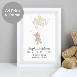 Personalised Teddy & Balloons A4 White Framed Print