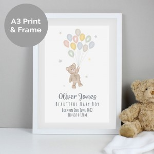 Personalised Teddy & Balloons A3 White Framed Print
