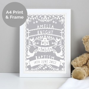 Personalised Grey Papercut Style A4 White Framed Print