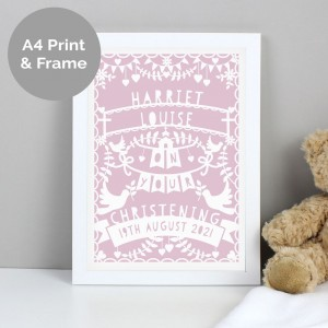 Personalised Pink Papercut Style A4 White Framed Print