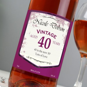 Personalised Rose Wine Vintage Age Label