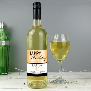 Personalised Happy Birthday White Wine