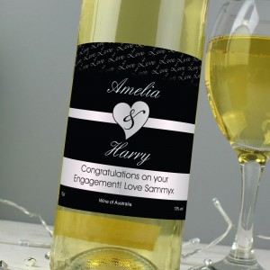 Personalised Couples White Wine- Black Design
