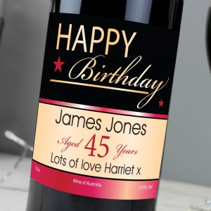 Personalised Happy Birthday Red Wine