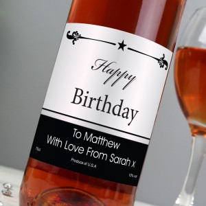 Personalised Black Border Rose Wine