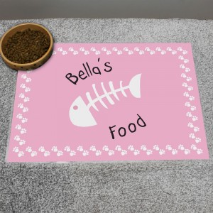 Personalised Pink Paw Print Cat Placemat