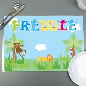 Personalised Blue Animal Alphabet Placemat