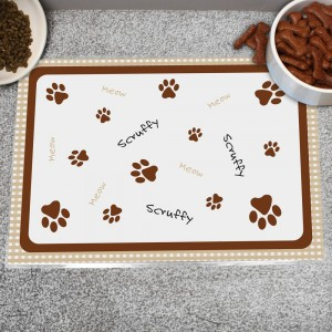 Personalised Brown Gingham Cat Placemat