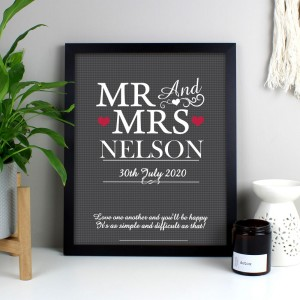 Personalised Mr & Mrs Black Framed Print
