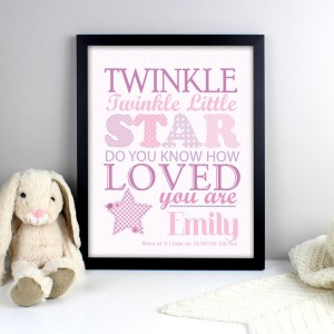 Personalised Twinkle Girls Black Framed Poster Print