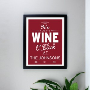 Personalised Wine O'Clock Black Framed Poster Print