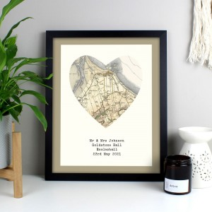 Personalised 1896 - 1904 Revised Map Heart Black Framed Poster Print