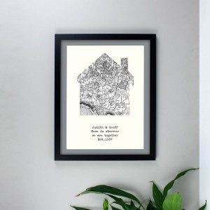 Personalised 1805 - 1874 Old Series Map Home Black Framed Poster Print