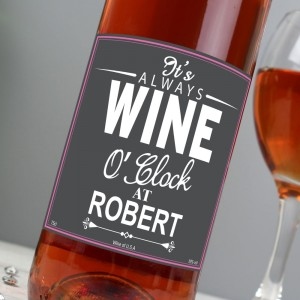Personalised Wine O'Clock Rose Wine
