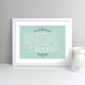 Personalised Wedding Typographic Art White Framed Poster Print