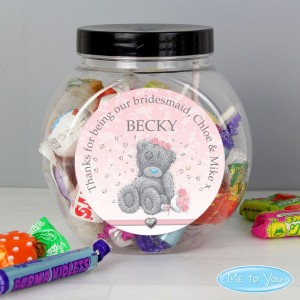 Personalised Me To You Bridesmaid Wedding Sweet Jar