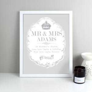 Personalised Royal Crown White Framed Print