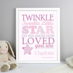 Personalised Twinkle Girls White Framed Print