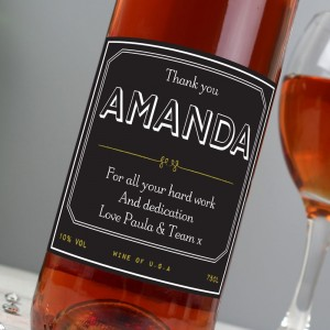 Personalised Ornate Rose Wine
