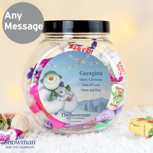 Personalised The Snowman and the Snowdog Sweet Jar