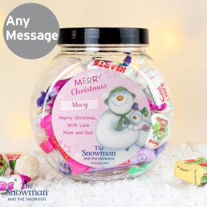 Personalised The Snowman and the Snowdog Pink Sweet Jar