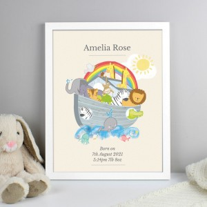 Personalised Noahs Ark White Framed Print